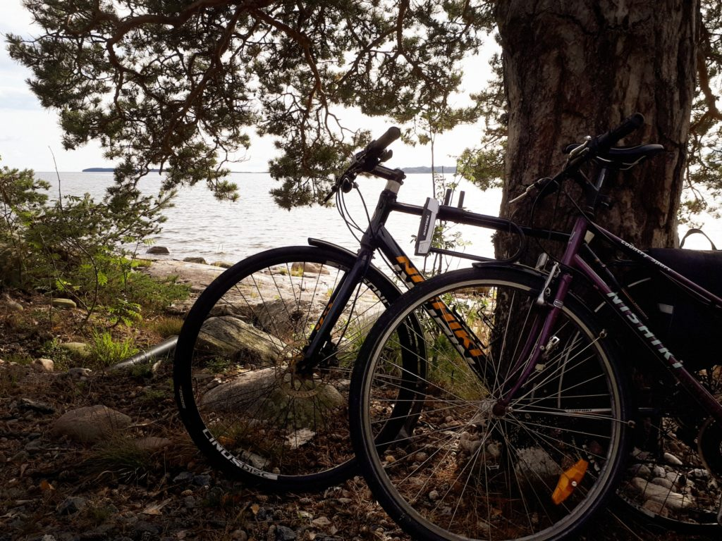 bicycling along coastal route