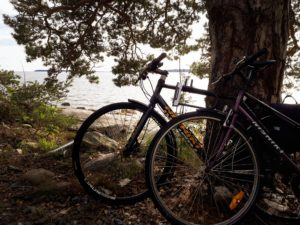 bicycling along coastal route